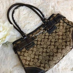 Coach Handbag Coach Jaquard Brown Leather Strap